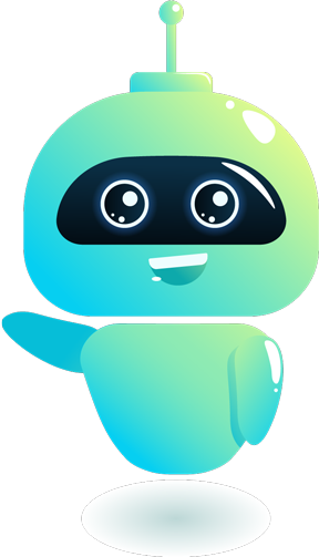 Artificial Intelligence Cute Bot Saying Hello - bluishgreen color